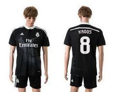 5e571a09940 Real Madrid Third Away  8 Kroos Soccer Jerseys 14-15 Season Black Uefa  Champions