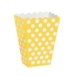 Polka Dot Popcorn Treat Boxes Yellow 8 Count ** Read more reviews of the product by visiting the link on the image.