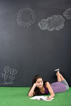 Turn your playroom into a customizable garden and let the kids set the scene with chalkboard paints. Sidewalk Chalk, Chalkboard Paint, Paint Designs, Interior And Exterior, Diy Home Decor, Outdoor Blanket, Nursery, Wall, Playrooms