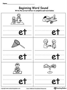**FREE** Beginning Word Sound: ET Words Worksheet. Topics: Writing, Phonics, Reading, and Word Families. #MyTeachingStation