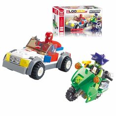 Kids Boys Spiderman Fight Demons w/ Cars Educational Toys Building Blocks Bricks #Unbranded