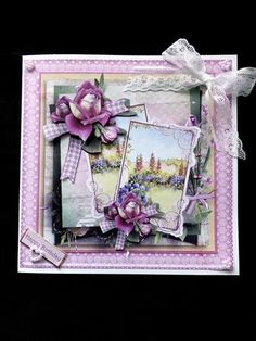 English cottage garden card with decoupage on Craftsuprint designed by Angela Wake - made by Marion Enefer - Beautiful picture for this card. Printed, cut out and layered and attached to a backing of frame from cup534378_692 then attached to my square blank card with DST. Decorated with a lace ribbon , one of the supplied greetings with a daisy heart attached - daisy pearls on other corners. A lovely card when completed. - Now available for download!