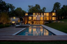 Contemporary residence in Weston Massachusetts with pool