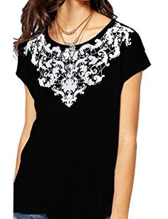 b457290ce09 Haola Women s Summer Graphic Printed Short Sleeve T Shirt Cute Tops Juniors  Tees Black Size Chart