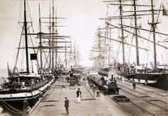 Negative - Sailing Ships Moored at Sandridge Railway Pier, Port Melbourne, Victoria, circa 1880 (C. The locomotive was probably a pier-shunting well tank type built by Robert Stephenson & Sons, England. Melbourne Victoria, Victoria Australia, Melbourne Suburbs, Old Sailing Ships, Melbourne Australia, Brisbane, Tall Ships, Model Ships, Vintage Pictures