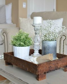 This #farmhouse style #coffeetable centerpiece is the perfect #summertime addition to your #livingroom décor!
