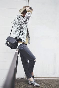 Nordstrom jacket, Topshop denim, Proenza Schouler bag and Dune loafers.. #happilygrey