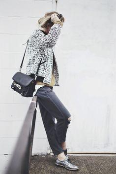 Nordstrom jacket, Topshop denim, Proenza Schouler bag and Dune loafers.. #happilygrey