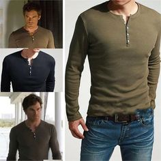 Men's KUEGOU Long Sleeve Henley Slim Fit Tee Shirt Dexter Kill Army Green Black