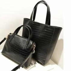 2 black croco pu leather women messenger shopper shoulder bag handbag