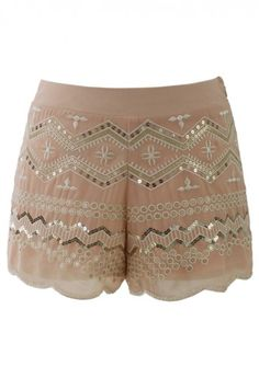 Sequins Embellished Shorts in Peach - New Arrivals - Retro, Indie and Unique Fashion