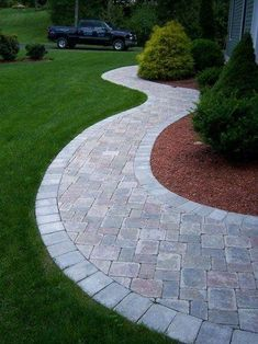 to design and build a paver patio - Garden Design to design and build a paver patio - Garden Design long front sidewalk landscape design Front Yard Walkway, Outdoor Walkway, Front Yard Landscaping, Backyard Patio, Landscaping Ideas, Walkway Ideas, Paver Walkway, Patio Ideas, Pavers Patio
