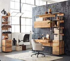 "Shop Industrial Modular 49"" Desk, Industrial Modular 17"" Open + Closed Storage, Helvetica Upholstered Office Chair, Factory Task Floor Lamp, Prism Wool Rug - Soot and more"
