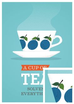 Tea Print,  Kitchen art, mid century modern poster, tea cup, Scandinavian, Retro Poster   I RECOMMEND this guy. perfect posters.
