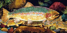 Big Rainbow - Trout Paintings by Kendahl Jan Jubb