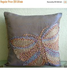 10% THANKSGIVING SALE Colorful Butterfly - Euro Sham Covers - 26x26 Inches Silk Euro Sham Cover Embroidered with Jute Cord