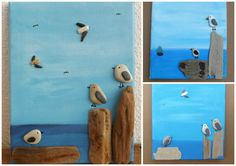 RESTING GULLS Pebble Art Made to Order Seagull Picture by Kate Dengra at DengraDesigns
