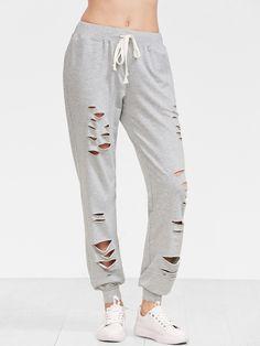 e861f43c4839 Heather Grey Distressed Drawstring Sweatpants Cute Pjs