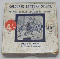 PETER PAN - CHAPTER 3 - BOXED SET OF 8 ANTIQUE MAGIC LANTERN SLIDES c1900