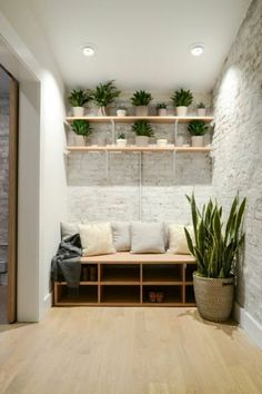 Home Design Ideas: Home Decorating Ideas Furniture Home Decorating Ideas Furniture corridor design wall shelves shoe shelves indoor plants
