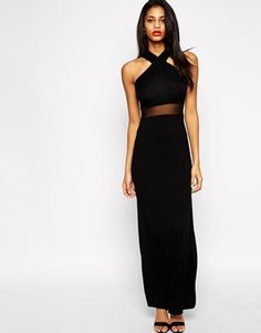 Enlarge ASOS Cross Front Halter Mesh Maxi Dress