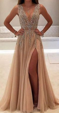 A-line V-neck Tulle Sexy Shinny Rhinestone Long Prom Dress With Slit Sexy Prom Dress, Prom Dress Backless, Prom Dress V-neck, Champagne Prom Dress, V Neck Prom Dress Prom Dresses 2020 Modest Prom Gowns, Split Prom Dresses, Sparkly Prom Dresses, V Neck Prom Dresses, Beaded Prom Dress, Prom Dresses 2017, Sexy Dresses, Beautiful Dresses, Dress Prom