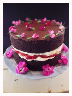 chocolate birthday cake with macerated strawberries & edible flowers...