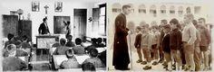 Escuela franquista. Dos imágenes ilustrativas del ámbito educativo español.en aquella época el ser bachiller exigía emigrar ,pasar un internado en Zaragoza o Teruel, a un mundo de distancia por aquellos años.