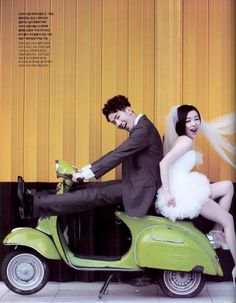 Photo: Korean wedding on Vespa (via vintagediary)