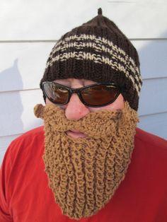 Items similar to MEN Beard hat men's Hats Beard Beanie Wild Man Bearded Hat Knitted Beard Hat Christmas gift Adult ski mask barbarian hat with beard crochet on Etsy Crochet Santa Hat, Knit Crochet, Crochet Hats, Crochet Things, Fake Beards, Long Beards, Silly Hats, Crazy Hats, Knitted Beard