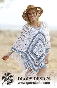 """Bohemian Blues"" #crochet DROPS #poncho in ""Paris"". Pattern available for free online!"