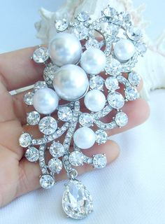 LARGE Fancy PEARL and Crystal Brooch/Ornament by allysonjames