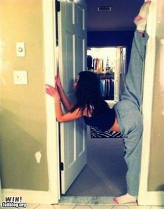 I remember these! We graduated to doorframe stretches for balance, after mastering wall splits. #ballerinaweirdness