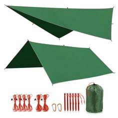 REDCAMP Large Waterproof Camping Tarp Lightweight, Multifunctional Insulated Tent Footprint for Camping, Hiking, Backpacking, Grey/Blue/Green Image 1 of 7 Camping Tarp, Tent Tarp, Best Tents For Camping, Backpacking Tent, Camping And Hiking, Outdoor Camping, Hammock Tarp, Survival Shelter, Wilderness Survival
