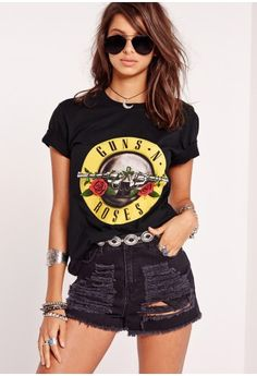 Guns N Roses Slogan T-Shirt Black - Missguided
