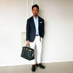 「#Hoshibastyle #Jacket #LBM1911 #Shirts #Camicianista #Pants #incotex #PocketSquare #Mungai #Belt #Jeanrousseau #Bag #HERMES #Shoes #WH」