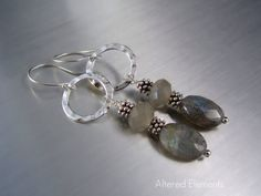 Labradorite and Crystal Earrings  Sterling by AlteredElementsJewel, $24.00