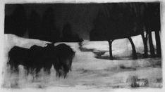 Elaine Green Herd II, 2007 charcoal 20 x 36 inches Silverpoint, Green Art, Morning Light, Triptych, Beautiful Paintings, Monochrome, Moose Art, Fine Art, Charcoal