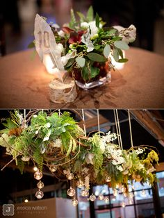 Suspended moss, branch and flower arrangement for sweetheart table  LOVE LOVE