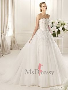 BallGown Strapless Sweep Train  Tulle Wedding Dress