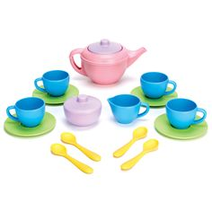 Green Toys recycled tea set! Made from empty plastic milk jugs and coloured with soy based dye.