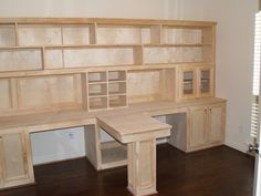 build kitchen cabinets grill diy office built ins using stock and custom storage t shaped desks