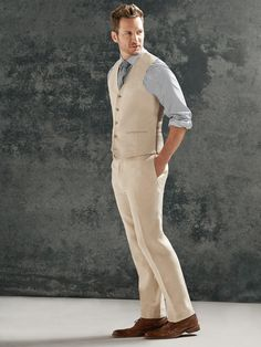 """Striped shirt with a grey knit neck and tan vest. Summer linen at its finest. Vest & Pants - Pronto Uomo - 'Modern Fit' Linen """"Solid Tan"""""""