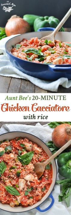 The chicken, rice, and veggies all cook together in one-skillet, making Aunt Bee's 20-Minute Chicken Cacciatore with Rice an easy dinner!