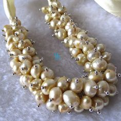 Pearl Necklace - 18 inches 7-8mm Champagne Freshwater Pearl Necklace - Free shipping