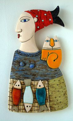 A woman selling fish ,Fine Art Ceramics, Ceramic Sculpture Slab Pottery, Pottery Clay, Thrown Pottery, Pottery Wheel, Pottery Vase, Arte Pop Up, Ceramic Sculpture Figurative, Pottery Videos, Ceramic Art