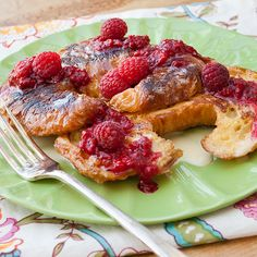 "Croissant French Toast with Raspberry and Vanilla Sauce...uses day-old store-bought croissants.  Recipe originator says: ""The raspberry sauce is just berries and sugar, so easy!  The vanilla sauce does require a little more work and use of a thermometer, but is so yummy.  It gets some of its flavor and richness from ice cream!  It is a great special occasion breakfast."""