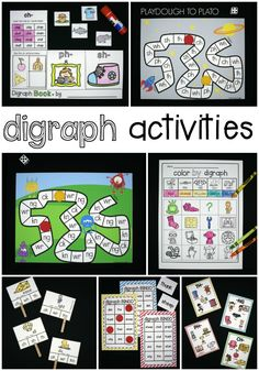 Tons of Fun Digraph Activities for Kindergarten, First Grade and Second Grade. Such fun literacy center and word work ideas.