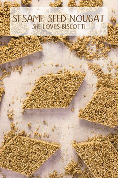 """Do you like """"sesame snaps""""? Now you can make your own with this Italian recipe. This sesame seed nougat provides just the right amount of crunch! Sesame Seed Bars Recipe, Italian Sesame Seed Cookies, Recipe For Sesame Cookies, Sesame Seeds Recipes, Italian Cookies, Italian Desserts, Nougat Cake, Crunch Bars Recipe, Lemon Biscotti"""