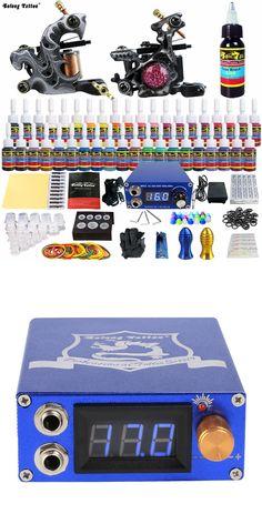 Solong Tattoo Wholesale Complete Tattoo Kits Pro 2 Handmade Coil Machine Guns Power Supply Foot Pedal Grip Tip Ink Set TKB09